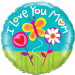 "18"" I Love You Mum Butterfly Foil Balloon"